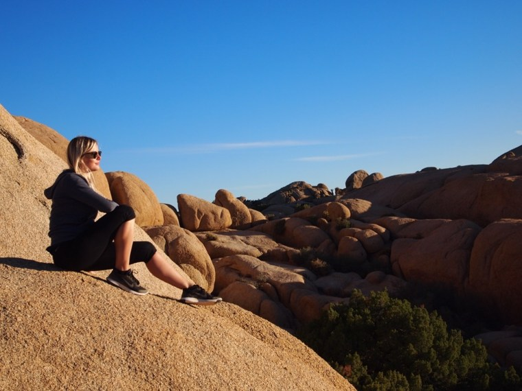 Resting on boulders Joshua Tree National Park