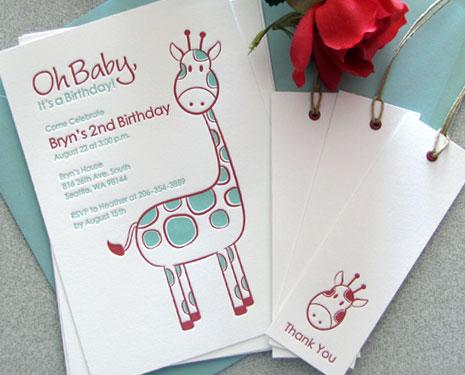 Cute Letterpress Baby Shower Birthday Invites Paper Crave