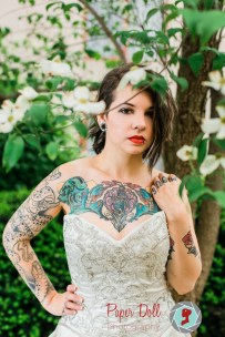 Tattooed bride posing for bridal portraits featuring model Nicole Fulmer