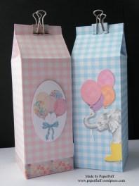 milk cartons in gingham - pair