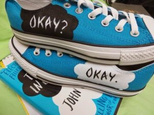 Blue Converse shoes in the theme of The Fault In Our Stars