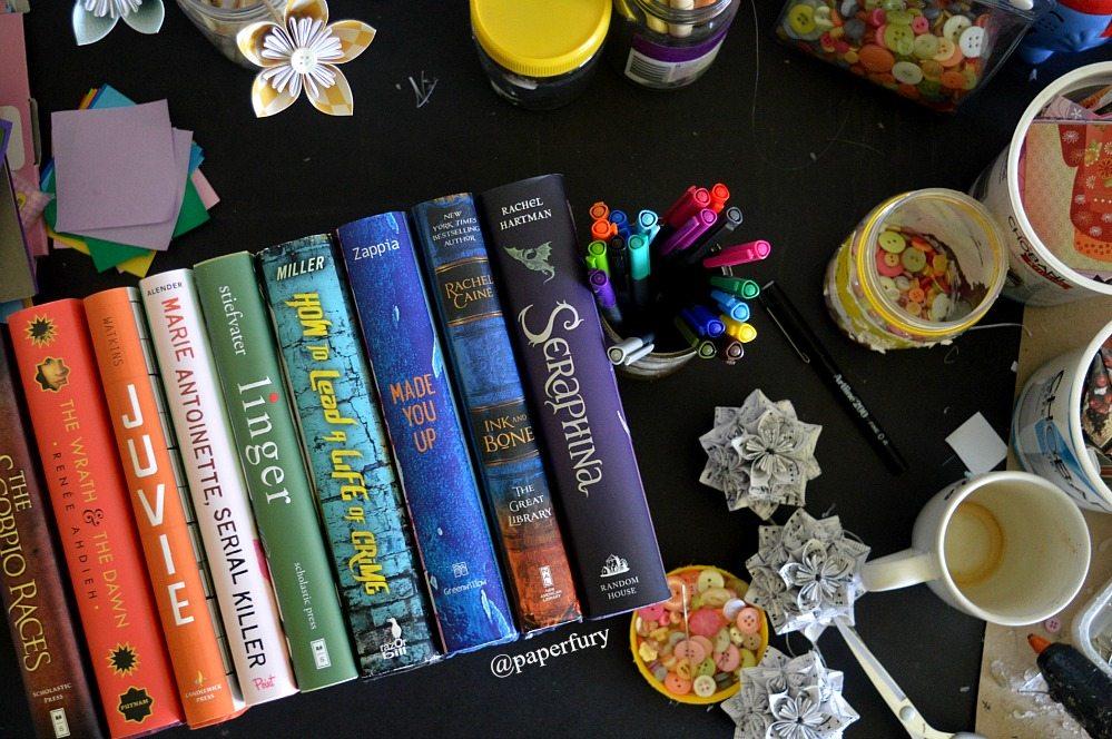 coloured books - line