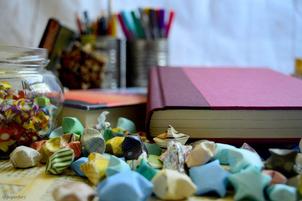 hardcover books + origami stars