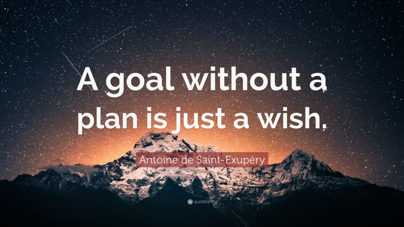 A goal without a plan is just a wish. Image from QuoteFancy.