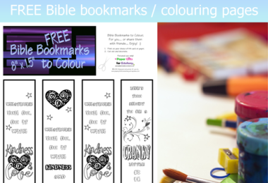 Kindness & Love ~ FREE Scripture Doodles / Bookmarks to colour