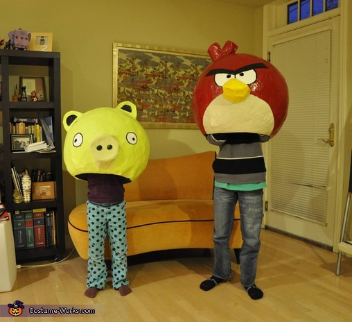 paper mache angry birds costume