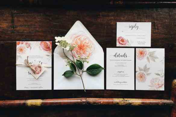 Beautiful floral wedding invitation suite designed by Emily Small for Paperjam Press in Portland, Oregon