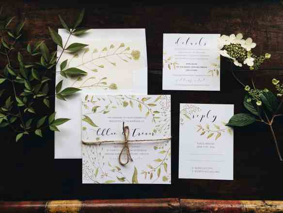 A lush green garden inspired wedding invitation suite designed by Emily Small for Paperjam Press in Portland, Oregon