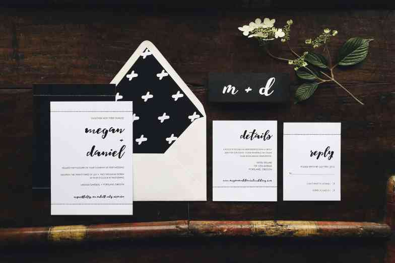 This beautiful black and white brush calligraphy wedding suite was created by Emily Small for Paperjam Press in Portland, Oregon