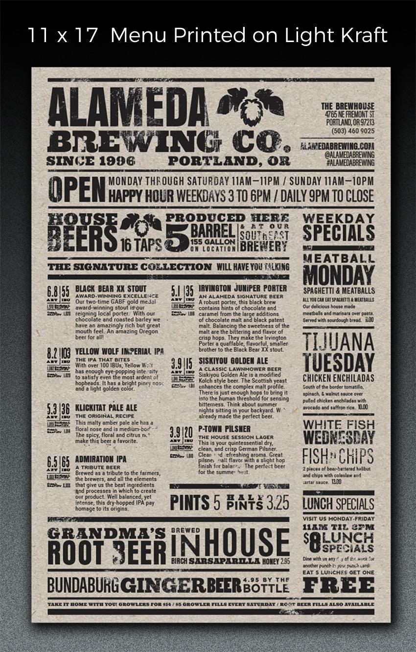 custom menu print