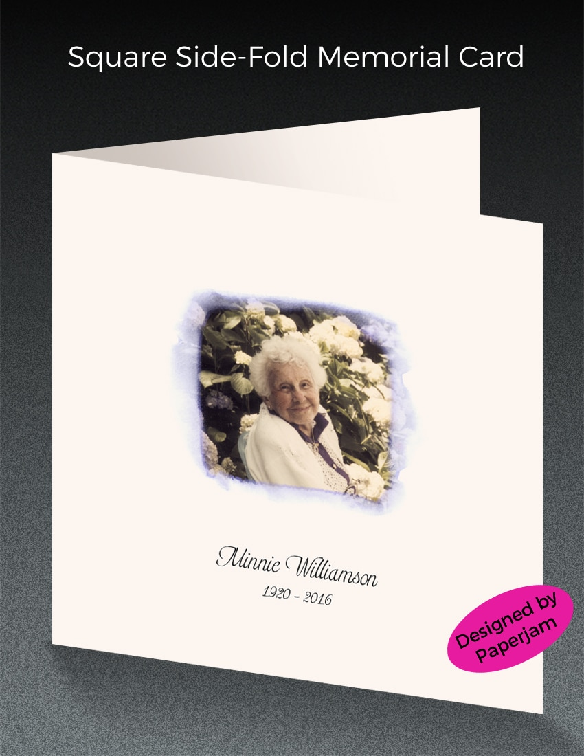 This memorial announcement features a photo that we enhanced with hand tinting, cropping square and then adding an artistic watercolor border.