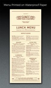 menu printed on waterproof paper