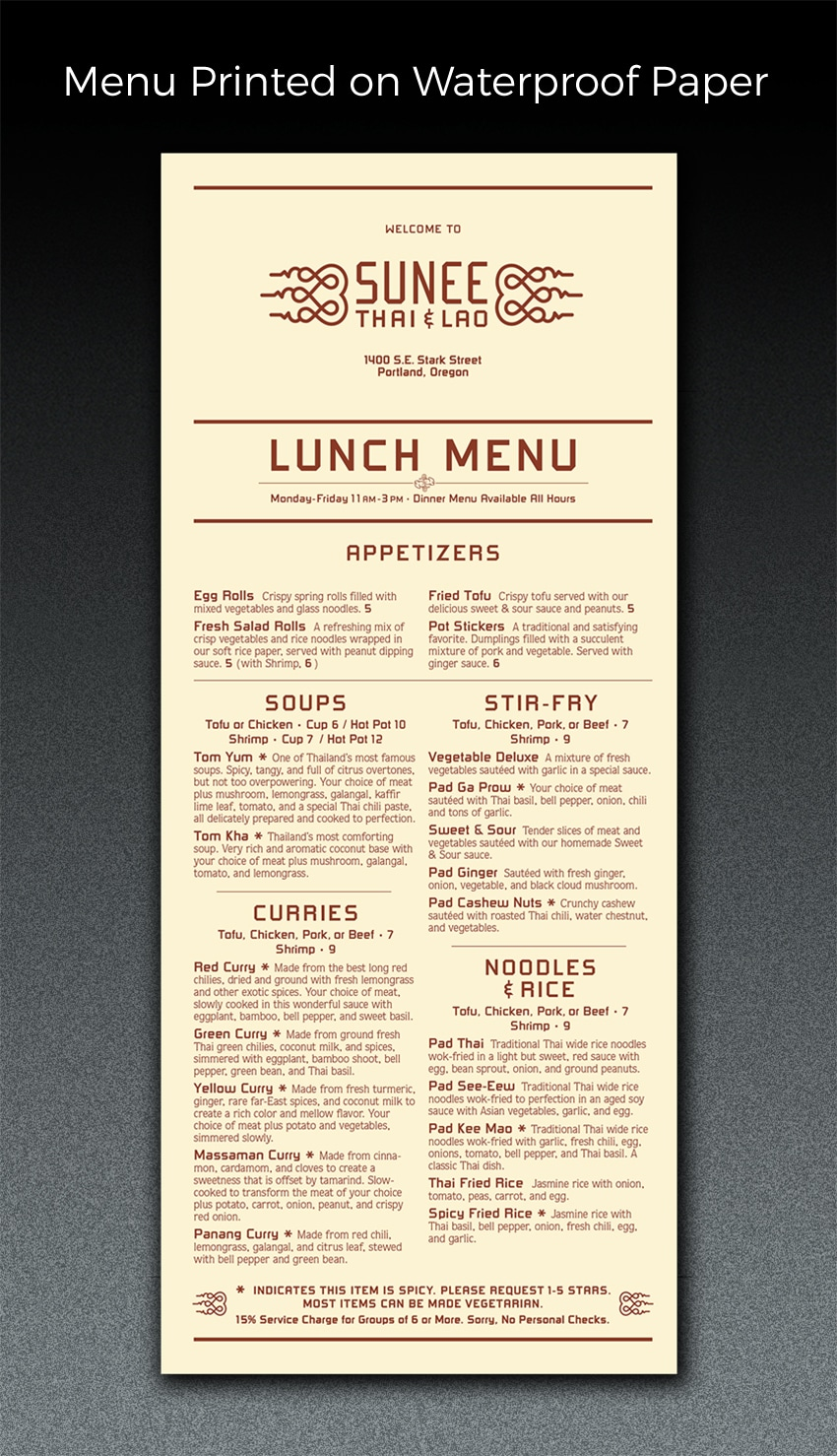 menu printed on waterproof paper