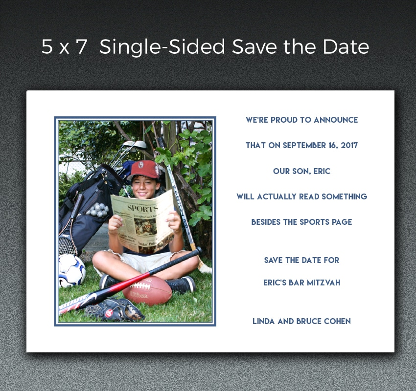 A collaboration between Paperjam and the customer resulted in this humorous save the date for a Bar Mitzvah