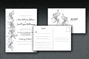 Printed on white linen paper, these wedding invitations have a petal motif printed on matching linen envelopes..