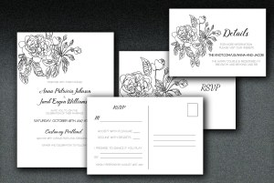 Printed on white linen paper, these wedding invitations have a rose motif printed on matching linen envelopes.