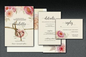 Printed on French speckle-tone paper, this popular and timeless floral design is complimented with elegant type faces. (monogrammed hang tag and jute tie optional)