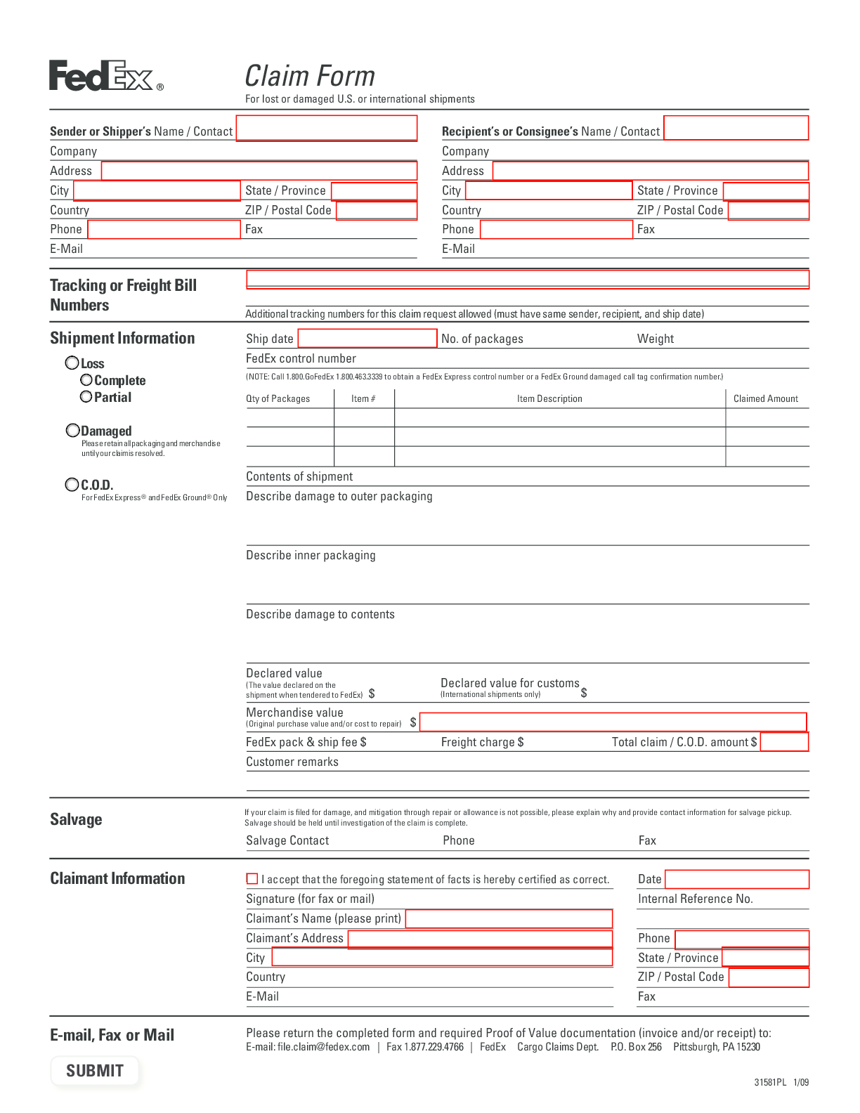 ups claims Form – Fillable Pdf Template – Download Here!