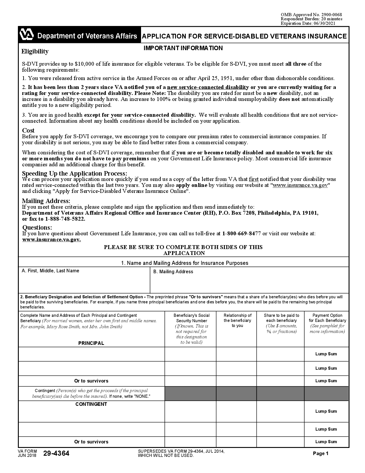 VBA-29-4364-ARE Form – Fillable Pdf Template – Download Here!