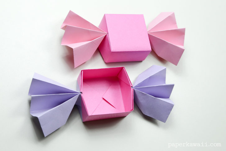 Origami Candy Box & Lid Instructions  Paper Kawaii