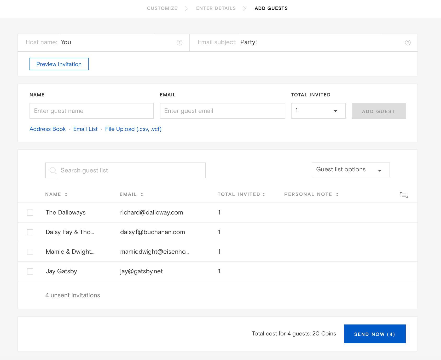 The Contacts Will Upload To Your Add Guest Delivery Page Automatically: