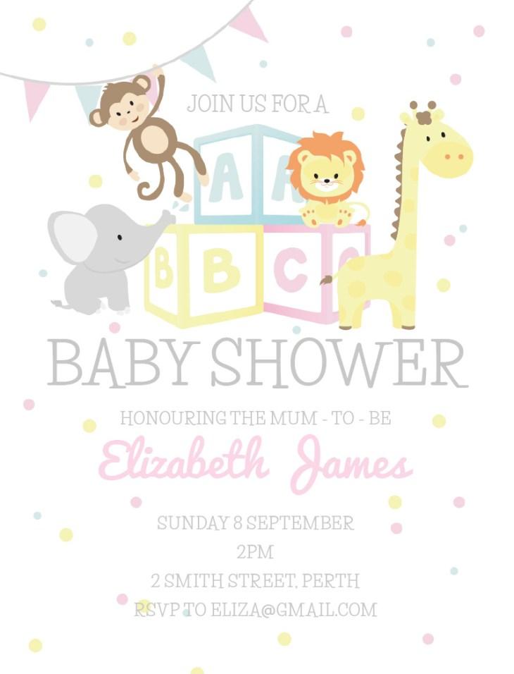 ABC Animals - Baby Shower Invitations. arrow left. front