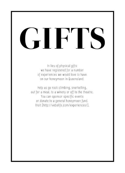 Hug Gift Registry Or Wishing Well Card