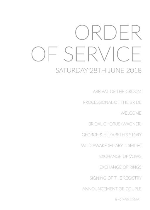 Order Of Service & Wedding Order Of Service