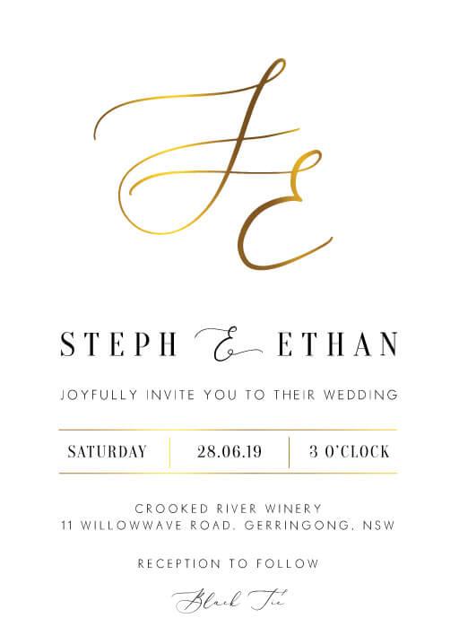 foil wedding invitations by