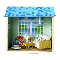 Maqueta 3D de casa de muñecas de verano.