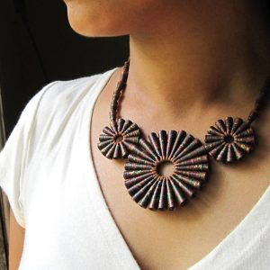 rustic brown necklace Chunky Indian Boho Statement Jewelry