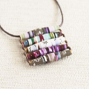 science magazine necklace purple violet brown