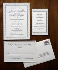 Traditional and elegant black and white wedding invitation ...
