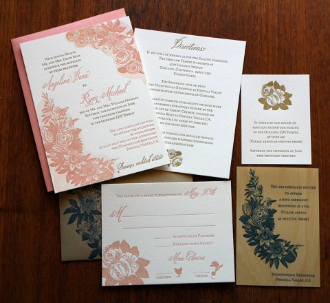 Letterpress printed floral with watercolor LDS wedding invitation set  Paper Monkey Press