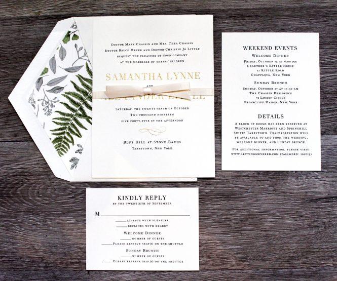 Custom Wedding Invitations Paper On Pine