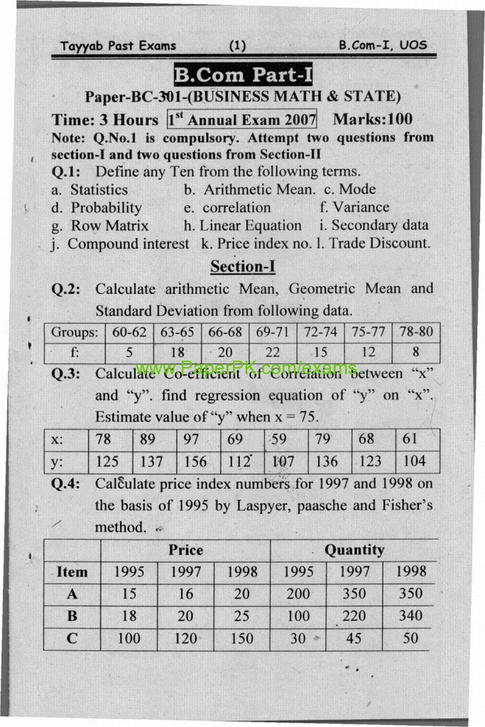 B.Com Part-1 Business Math & State Paper of University of
