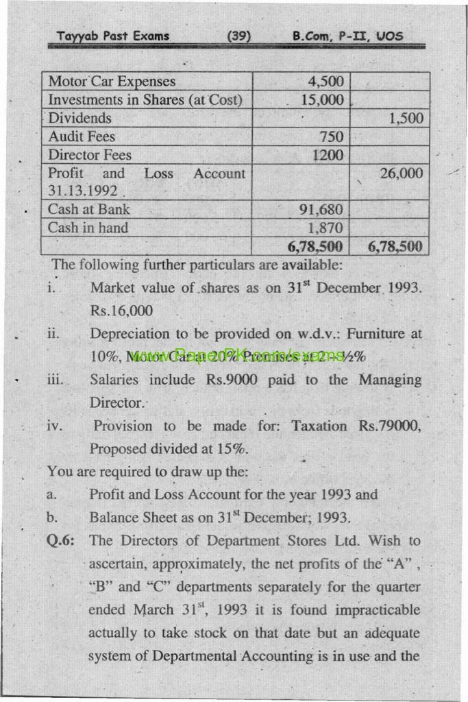 B.Com Part-II Advance Financial Accounting Paper Of