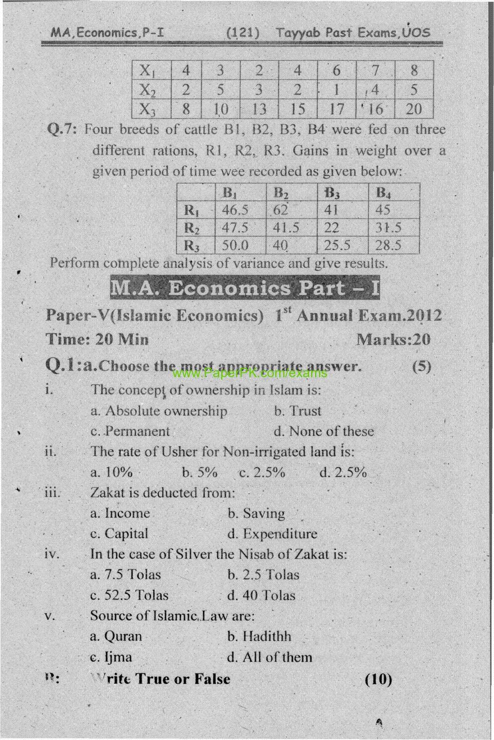 M.A Economics Part-I Paper-IV Statistics for Economics