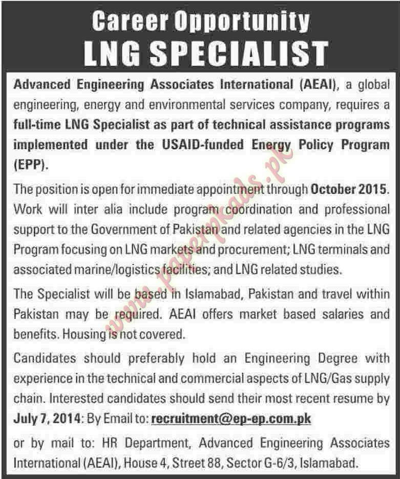 LNG Specialists Jobs in Islamabad