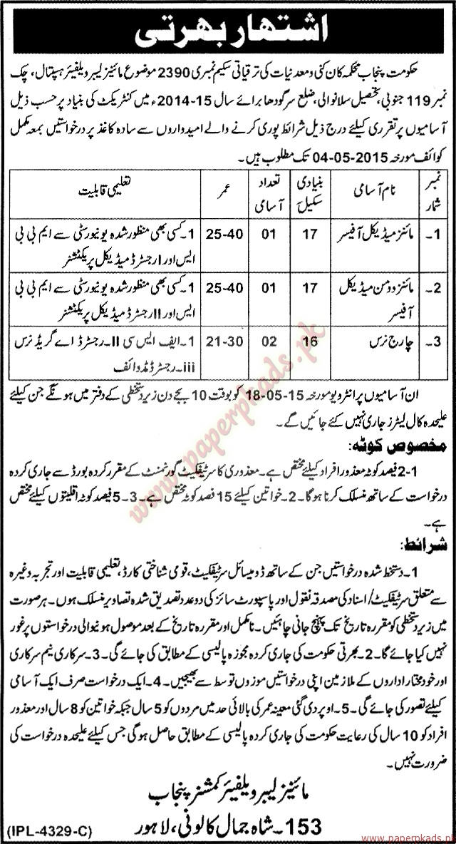 Man and Women Medical Officers and Charge Nurses Jobs