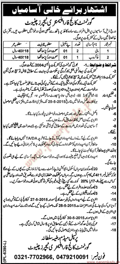 Government College for Elementary Teachers Jobs