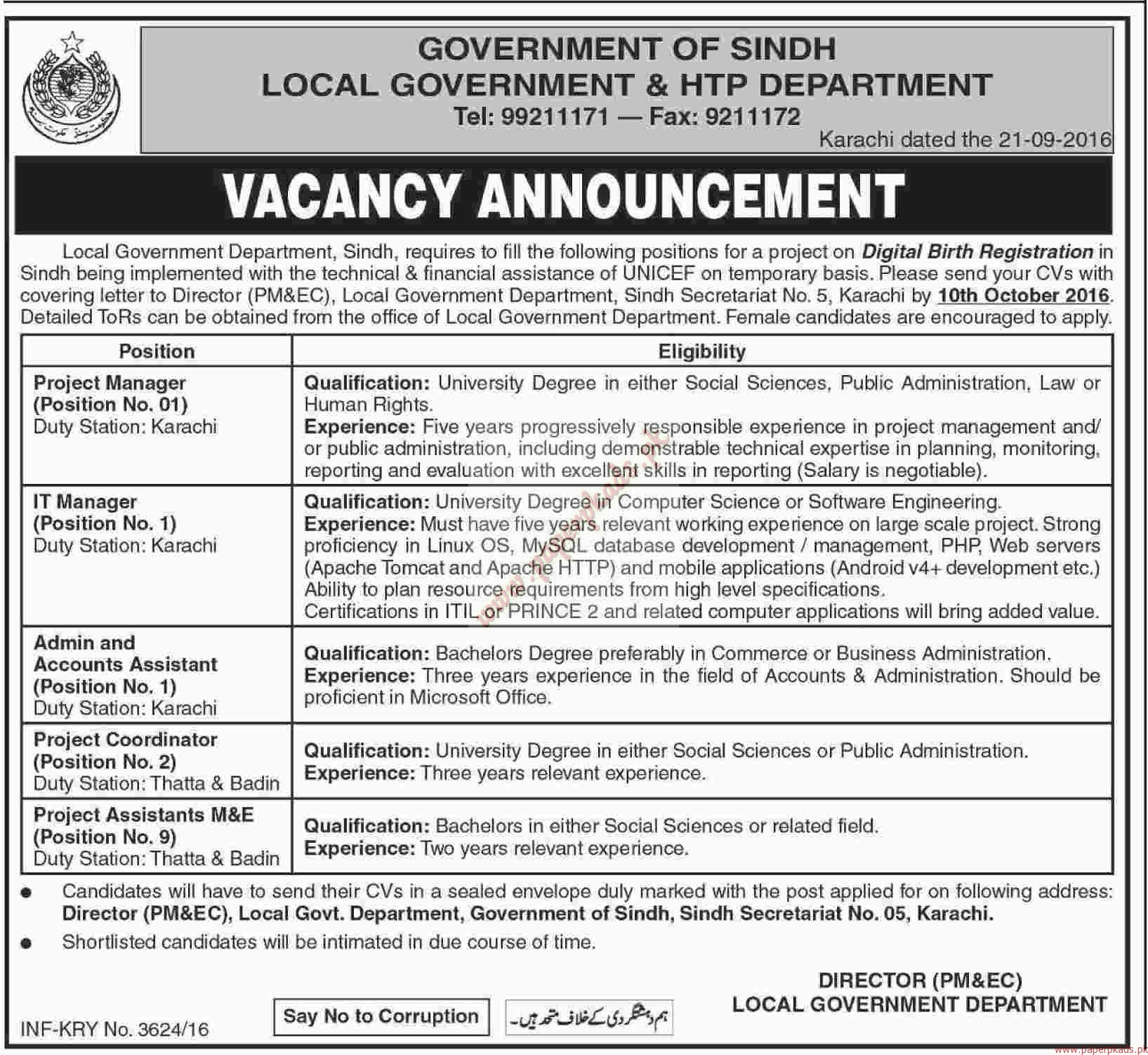 Government Jobs Upload Resume Government Of Sindh Local Government And Htp Department