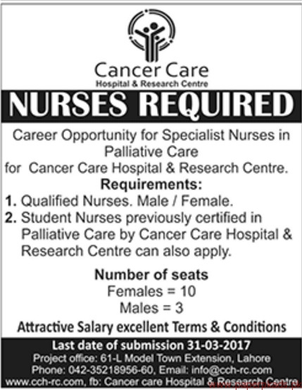 Cancer Care Hospital & Research Centre Jobs 2017