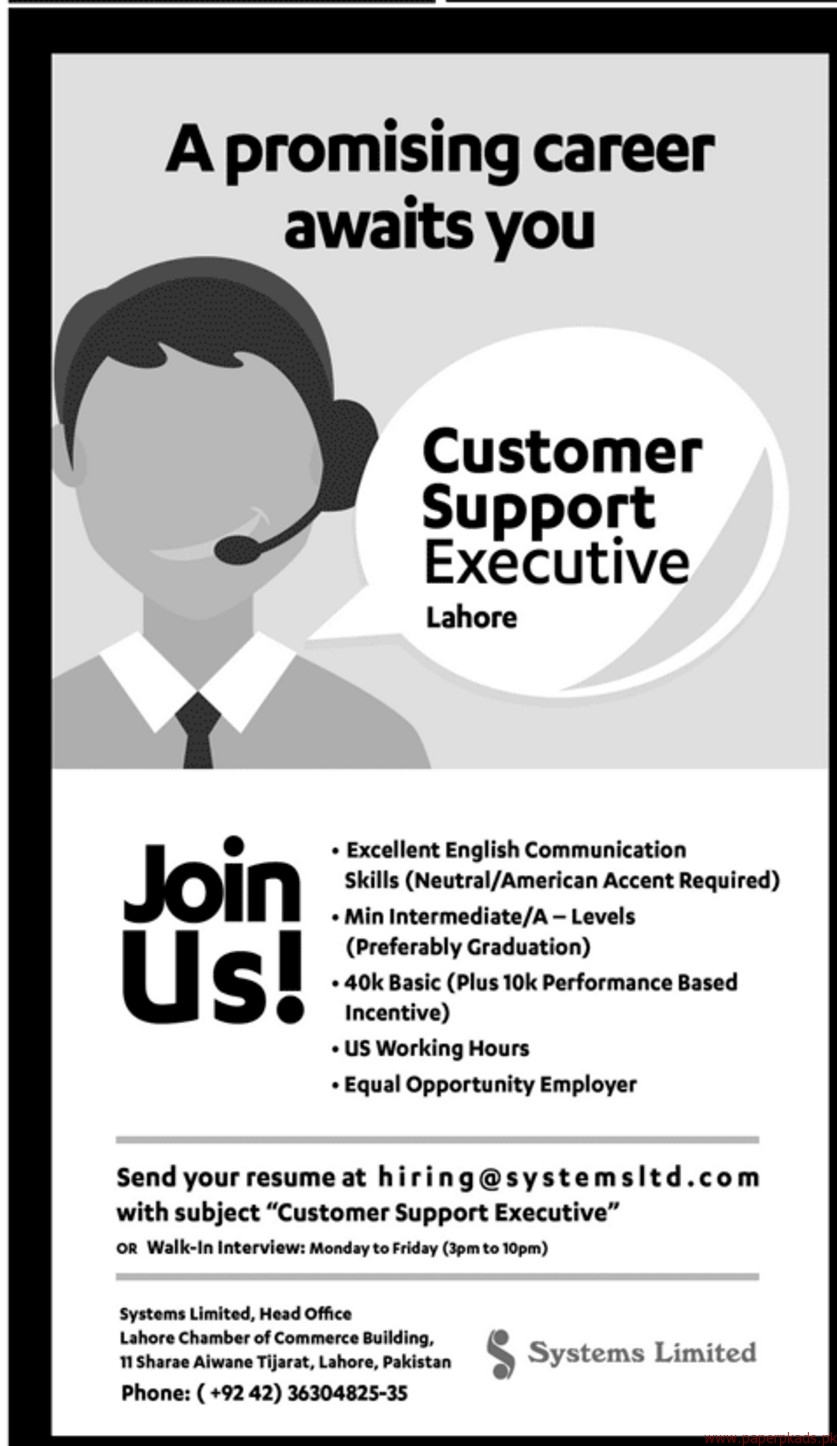 Customer Support Executive staff Required
