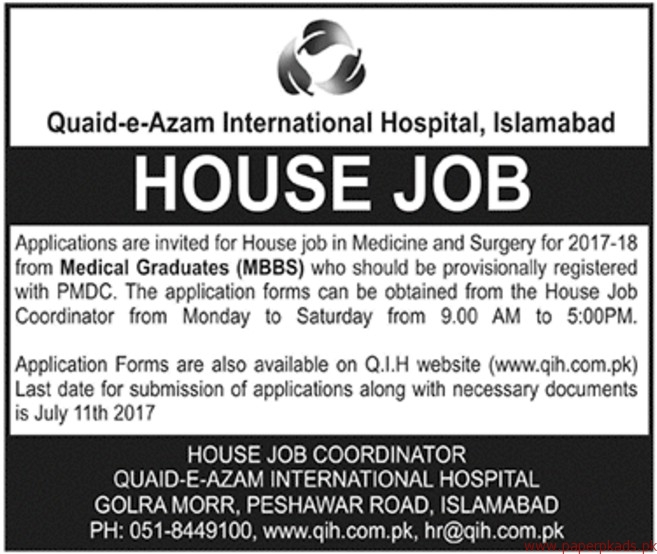 Quaid-e-Azam International Hospital Jobs