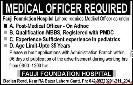Medical Officers Required for Fauji Foundation Hospital