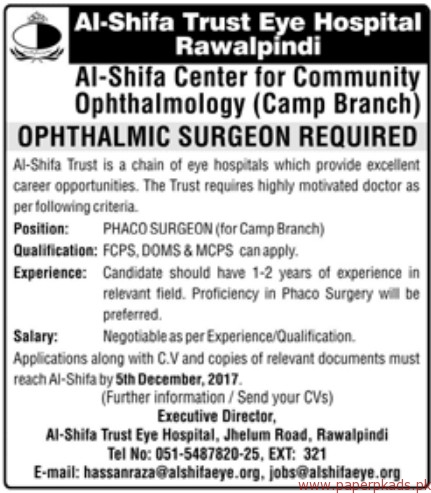 Al-Shifa Trust Eye Hospital Jobs 2017