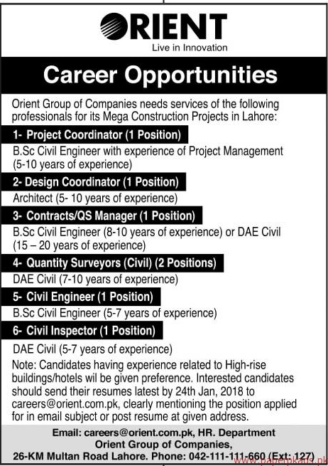 Orient Group of Companies Jobs 2018