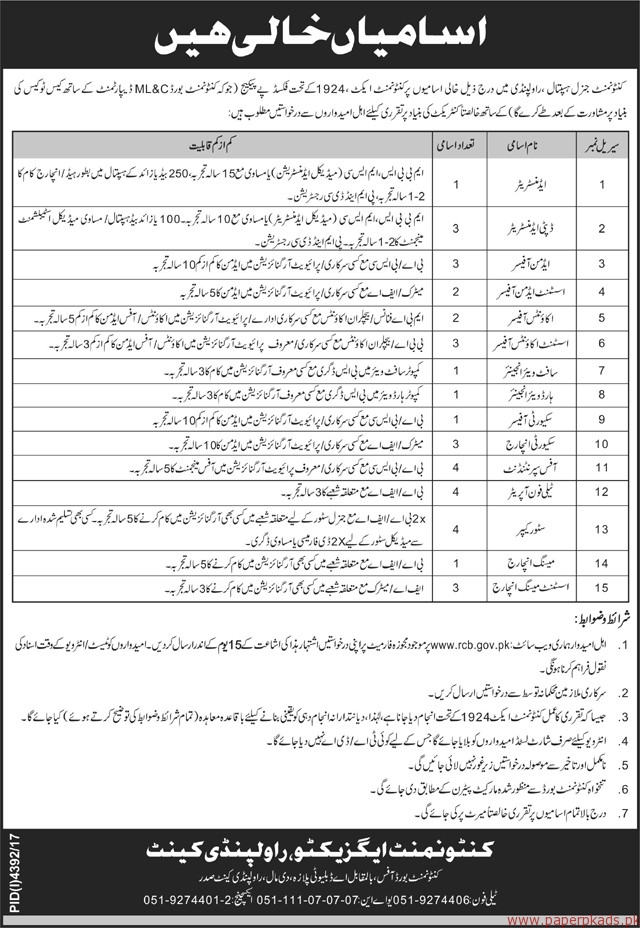 General Hospital Rawalpindi Jobs 2018