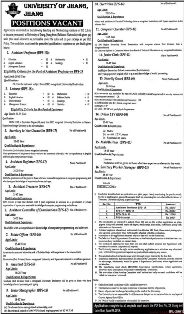 University of Jhang Jobs 2019 Latest